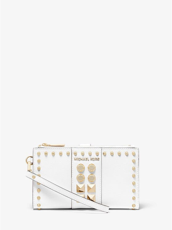 Adele Studded Saffiano Leather Smartphone Wallet