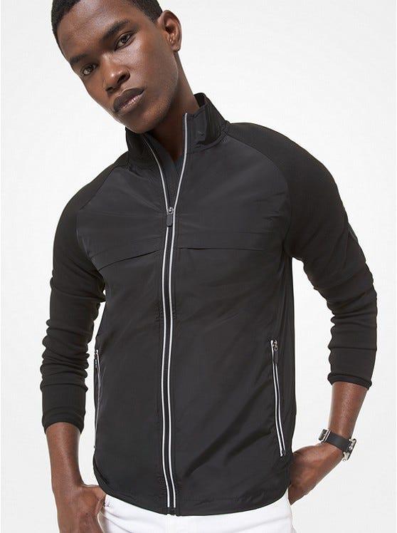 Mixed-Media Cotton Blend Track Jacket