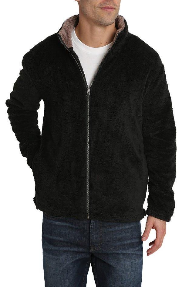Black Teddy Sherpa Stretch Zip Jacket