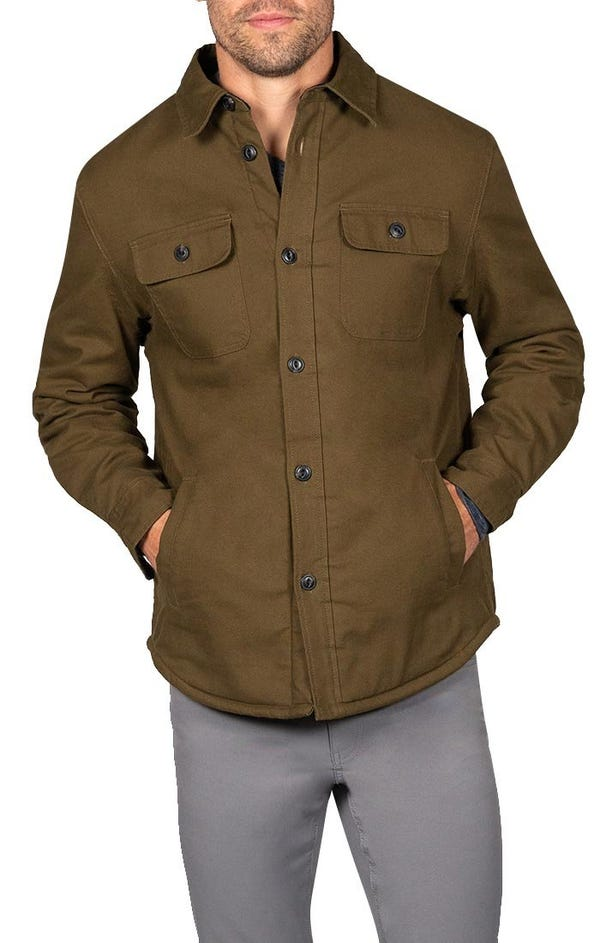 Olive Stretch Sherpa Lined Canvas Shirt Jacket