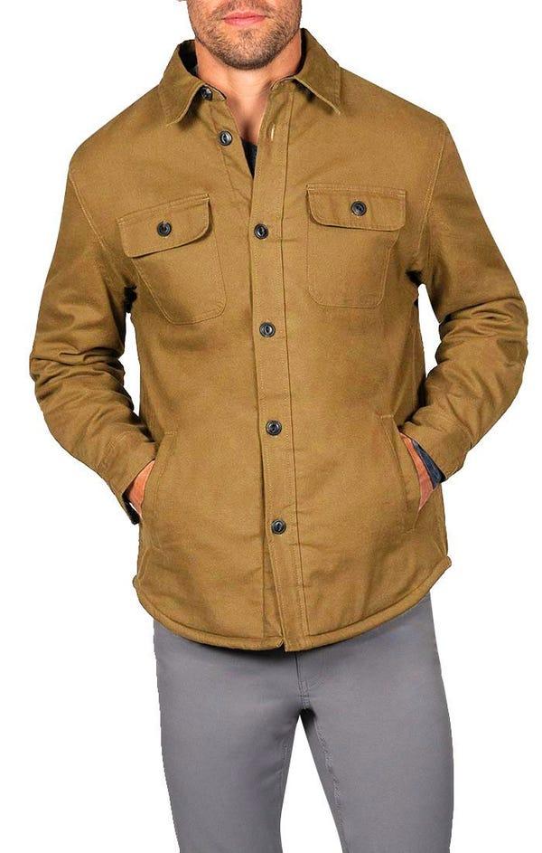 Khaki Stretch Sherpa Lined Canvas Shirt Jacket
