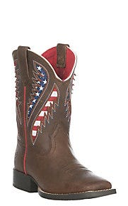 Ariat Youth Quickdraw Cowboy Brown VentTEK Square Toe Western Boots
