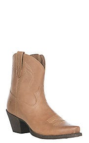 Ariat Women's Lovely Luggage Brown Leather Snip Toe Western Booties