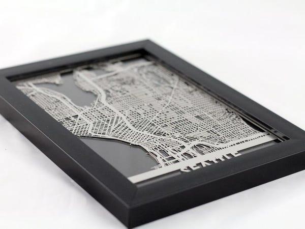 Seattle Washington Stainless Steel Laser Cut Map