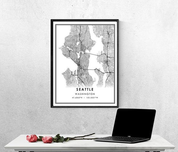 Seattle map print poster canvas