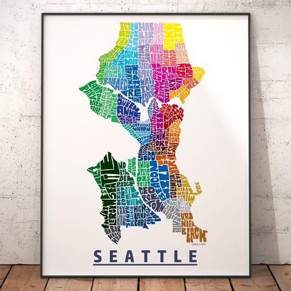 Seattle Neighborhood Map Print, signed print of my original hand drawn Seattle map art