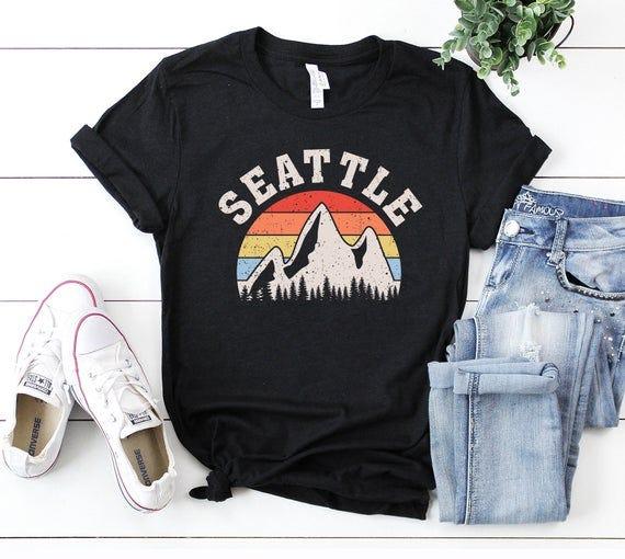 Seattle Mountain Vintage Retro T-Shirt Gift