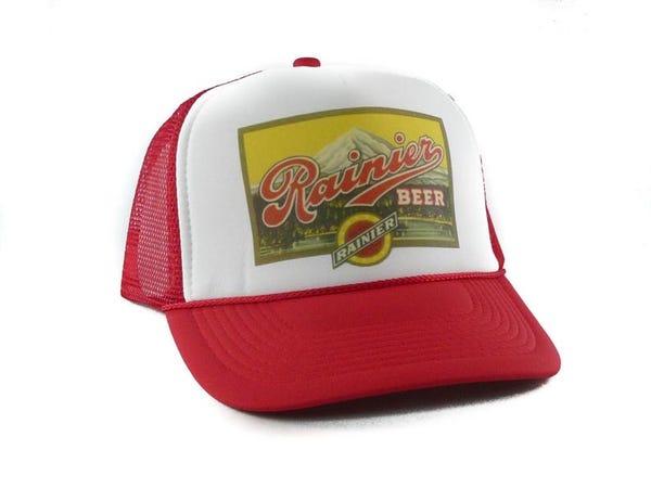 Rainier Beer hat Trucker Hat Mesh Hat Snap Back Hat red new adjustable