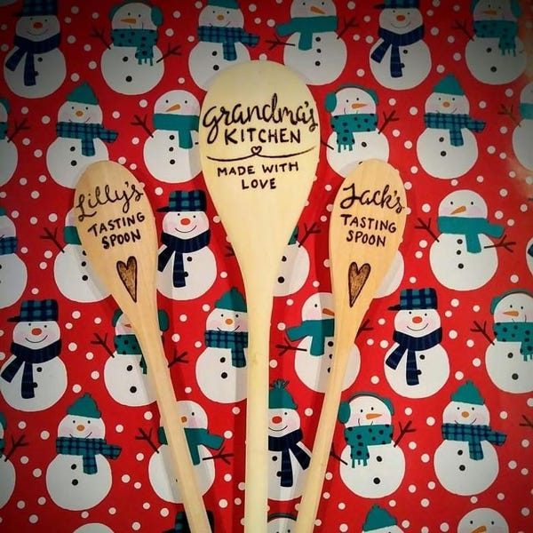 Burned Wooden Cooking Spoons: Rainier Beer, PNW, Sasquatch, Camping, Family Names, Mustaches, Last Name, States, and more!