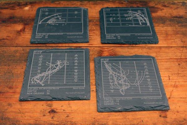 Greatest Seahawks Plays - Slate Coasters