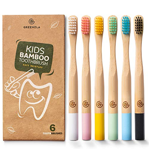 Greenzla Kids Bamboo Toothbrushes (6 Pack)