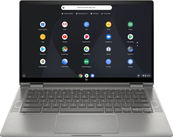 """HP - 2-in-1 14"""" Touch-Screen Chromebook - Mineral Silver"""