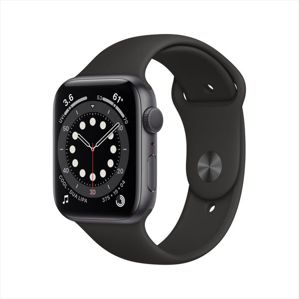Apple Watch Series 6 GPS, 44mm Space Gray Aluminum Case with Black Sport Band - Regular