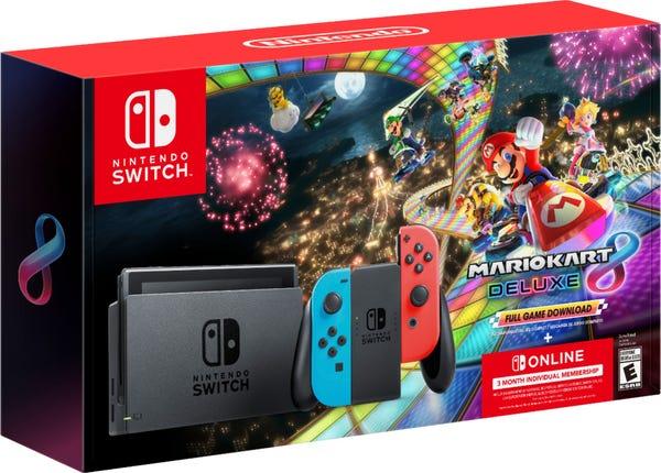 Nintendo Switch - Neon Blue/Neon Red Joy-Con + Mario Kart 8 Deluxe (Download) + 3month Nintendo Switch Online membership