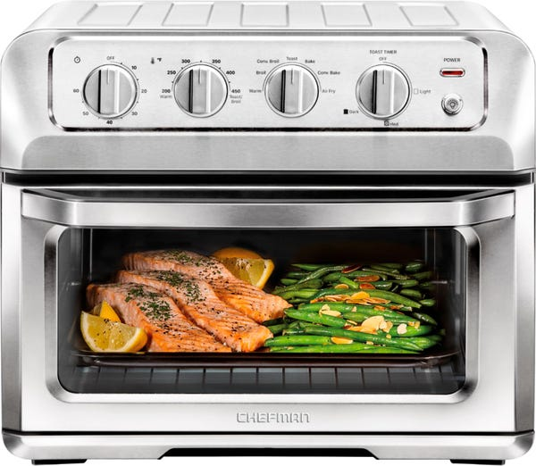 CHEFMAN - Toast-Air® 6-Slice Convection Toaster Oven + Air Fryer - Silver