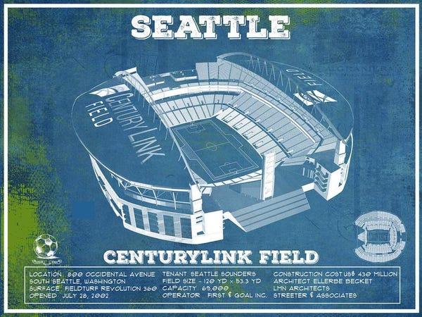 Seattle Sounders F.C. - Vintage Century Link Field MLS Soccer Print