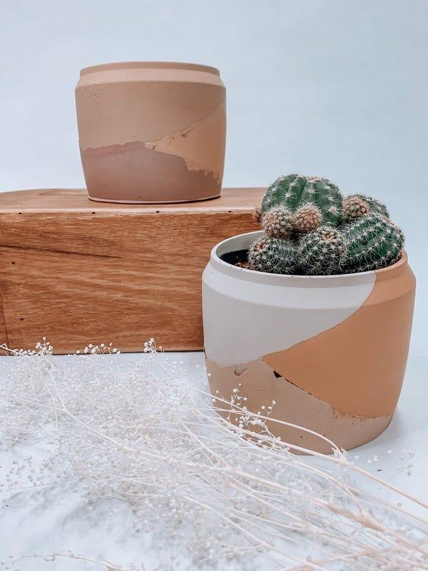 Desert Layered Concrete Plant Pot