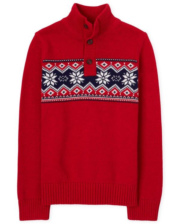 Boys Fairisle Mock Neck Sweater