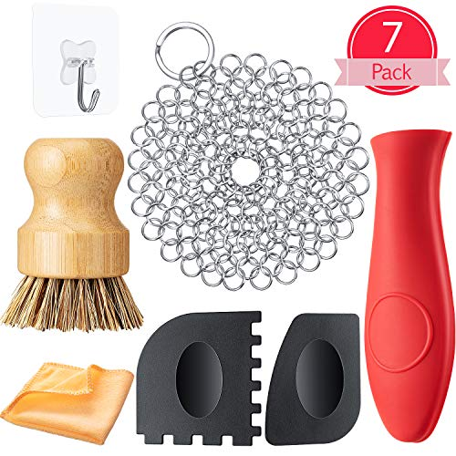 7 Pieces Cast Iron Cleaner Set Include Stainless Steel Chainmail Scrubber with Bamboo Dish Scrub Brush Hot Handle Holder 2 Pan Grill Scrapers Kitchen Towel Wall Hook