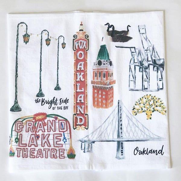 Oakland Collage 100% Cotton Tea Towel