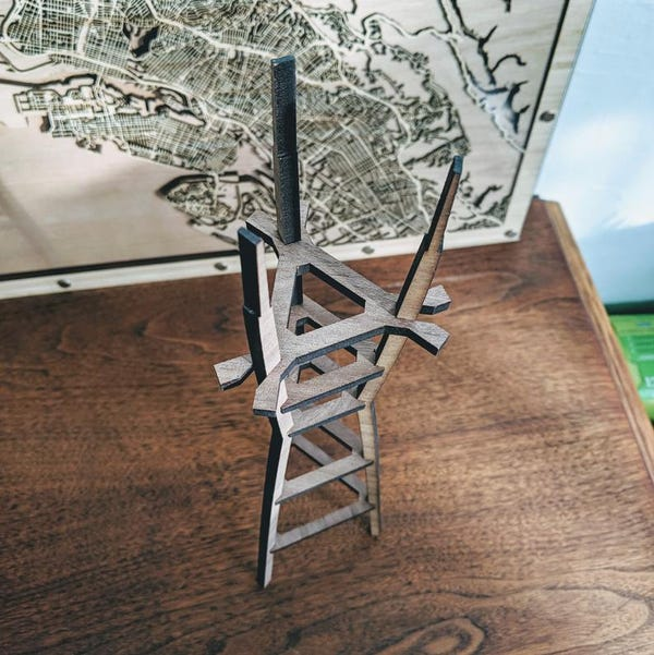 Sutro Tower 15in Laser Cut Wooden 3D Model - Handmade in San Francisco