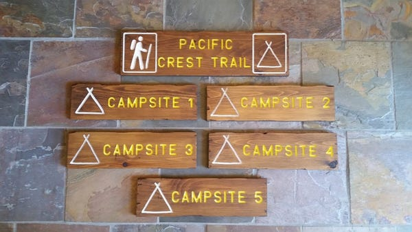 Campground signs, customizable, carved, routed, cedar, hand painted
