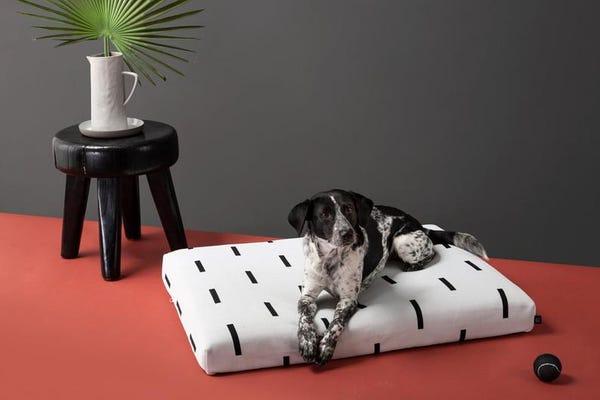White Dog Bed | Modern Mud cloth Dog Bed