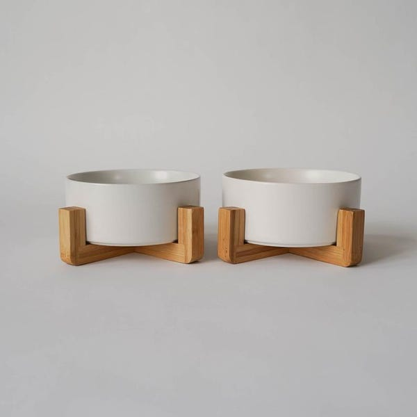 Mid-Century Modern Dog Bowl, Modern Dog Bowl, Ceramic Dog Bowl, Ceramic Dog Bowl with Stand