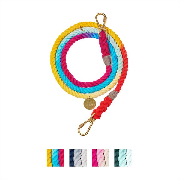 Found My Animal Adjustable Ombre Rope Dog Leash, 7-ft