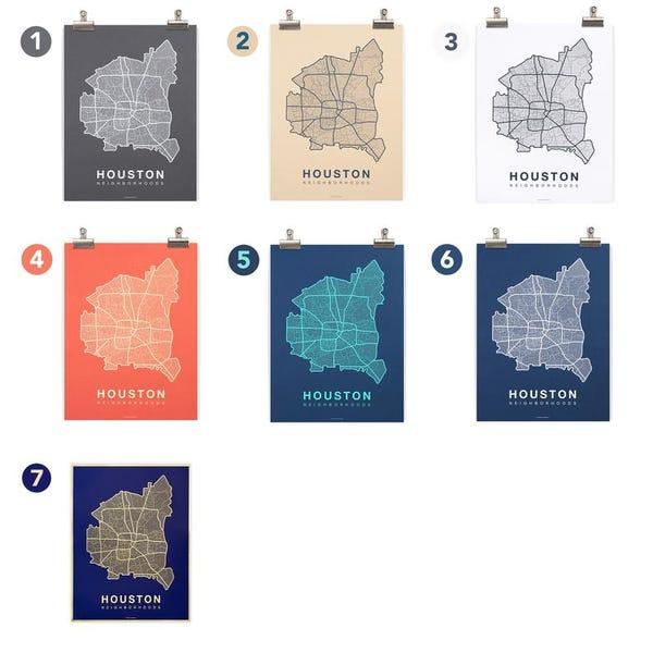 HOUSTON Neighborhood City Map Print, Handmade