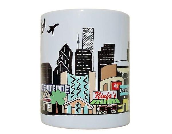 HOUSTON Skyline Coffee Mug - Landmarks BE SOMEONE Bridge - Waterwall Park - Toyota Center