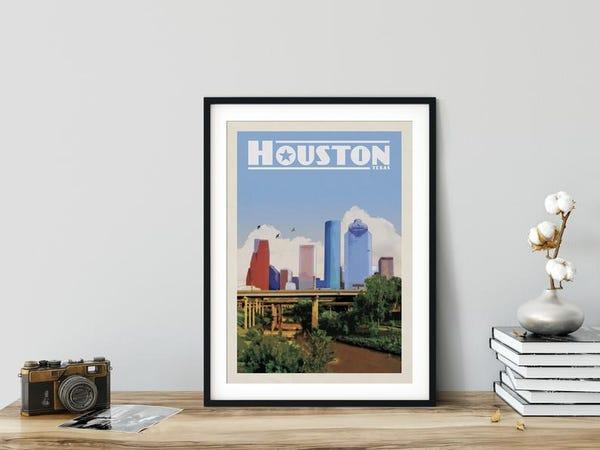 Vintage East Texas Poster, Houston Map