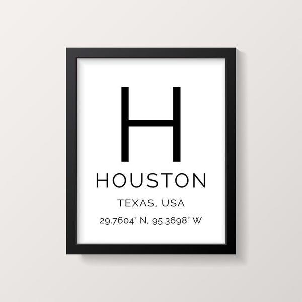 Houston coordinates print
