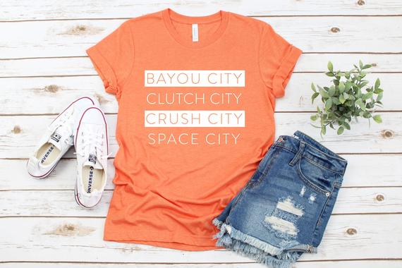 Houston Nicknames T-Shirt - Clutch City Tee - Crush City T-Shirt - Bayou City Tee - Space City Shirt
