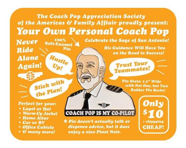 Coach Pop is My Co-Pilot Enamel Pin