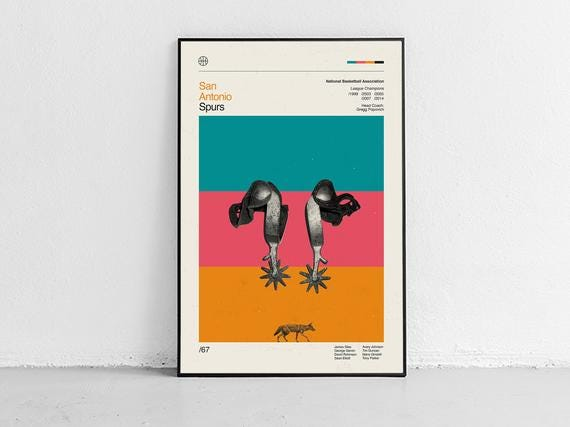 San Antonio Spurs - midcentury vintage inspired Poster, Giclée Art Print