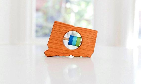 CONNECTICUT State Baby Rattle™ - Modern Wooden Baby Toy