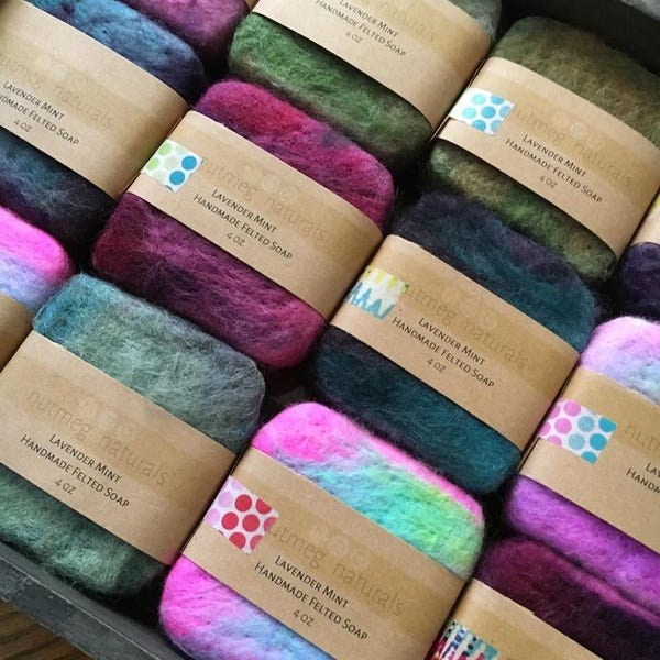 Felted soap, handmade with cold process soap, essential oil soap