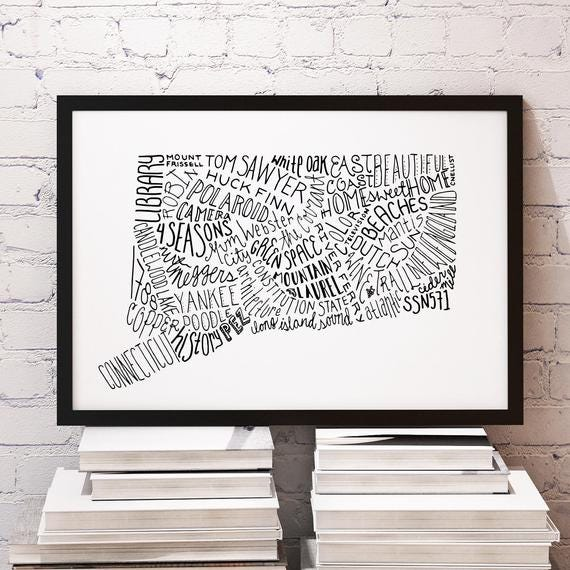 Unframed State of Connecticut Typography Print