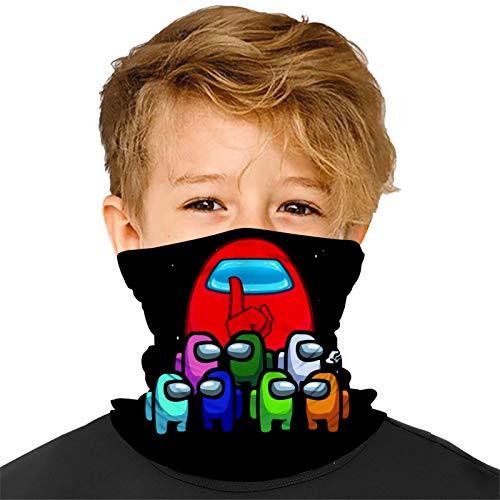 Buwict Among Us Game Kids Face Scarf Mask-Dust Bandana Neck Gaiter Headband Boy Girl Balaclava Outdoors Dustproof Lightweight