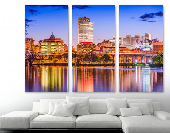 Albany, New York, Skyline Canvas Print Wall Art