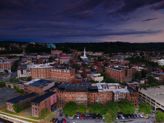 """Troy NY Drone Photograph """"Troy"""" Mounted in Black Frame"""