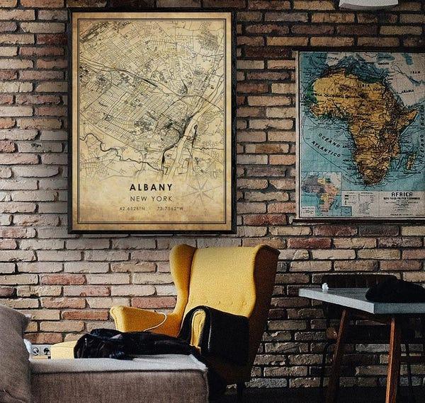 Albany Vintage Map Print