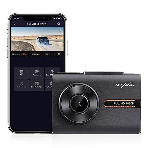 ARPHA 1080P Full HD Dash Camera with OLED Touch Screen, WiFi, G-Sensor, Parking Mode, Motion Detection
