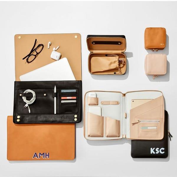 Essential Leather Laptop Envelope, Shadow Printed
