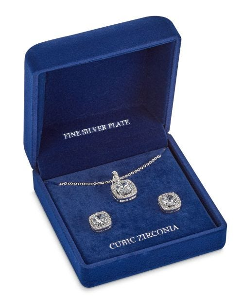 """Fine Silver Plate Cubic Zirconia Necklace and Stud Earring Set, 18"""" + 3"""" extender"""