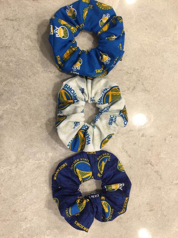 Homemade Golden State Warriors Scrunchies