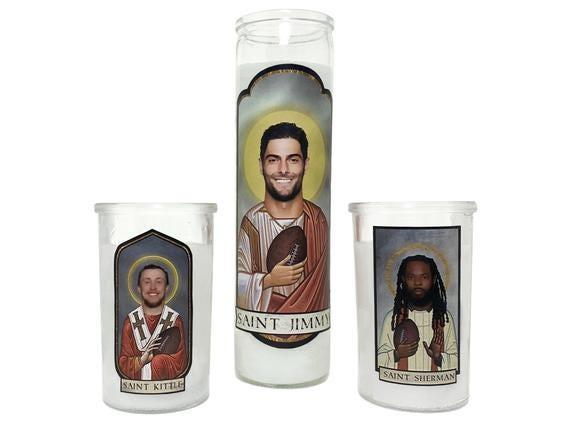 JIMMY G GAROPPOLO George Kittle Richard Sherman San Francisco SF 49ers Saint Prayer Candle Gift