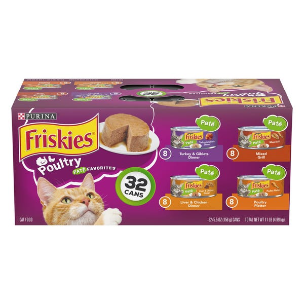 Purina® Friskies® Classic Pate Cat Food - Poultry Favorites, Value Pack, 32ct