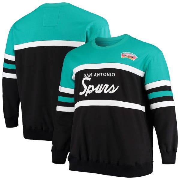 Men's San Antonio Spurs Mitchell & Ness Black Big & Tall Hardwood Classics Head Coach Pullover Sweatshirt